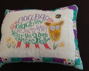Baa Baa Black Sheep, boy, girl, baby, child, machine embroidery, nursery room pillow, pillow,