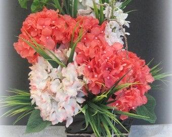 Coral Hydrangea Floral Arrangement