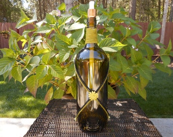 Wine bottle tiki torch - Green and Black Harlequin Floral