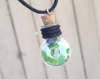Monterey Sea Glass Bottle Necklace