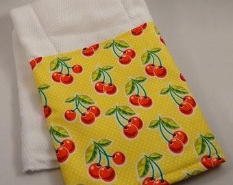 Cheerful Cherries!  100% Cotton Burp Cloths with Cherry Designer Fabric