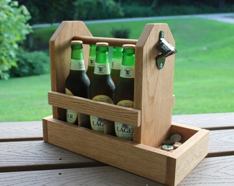 Wooden Six Pack Beer Carrier with Bottle Opener