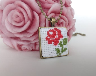 Hand embroidered  necklace Cross stitch pendant Floral Rose Jewelry Gift for her Embroidery Pendant