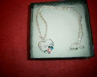 Grandma  colored stone  pendant necklace