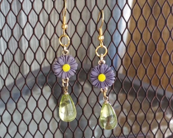 Purple Green Yellow and Gold Daisy Earrings