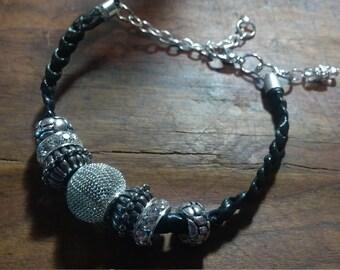 Flat Braid Leather Bracelet- Silver Metal Beads / Glass Beads
