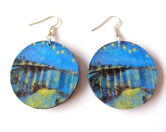 Decoupage Earrings - Vincent Van Gogh, Starry Night Over the Rhone