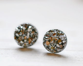 Tiny Gray Druzy Earrings, 8mm Round Druzy Earrings, Metallic Glitter Faux Drusy Posts Glittering Gunmetal Dark Grey Stainless Steel Studs,