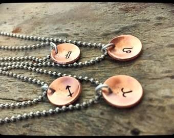 Copper Zodiac Sign Necklace