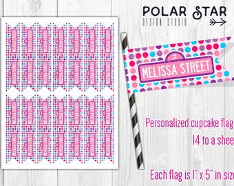 Street Sign - Personalized Cupcake Flag Toppers, Party Paper Flags, Straw Flags - DIY Printable Digital File (Abby Cadabby colors)