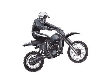Rider on Dirt Bike - Motorcycle Classic - Vintage Motorcycle - Pen & Ink Drawing - wall art - Motorcycle Art