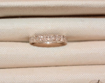 Sterling Silver Eternity Band with Clear Zircon Gemstones Women's Size 8