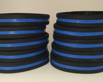 Set of 10 Thin Blue Line Silicone Wristbands FREE SHIPPING Blue Lives Matter Police Support Three (3) Sizes!