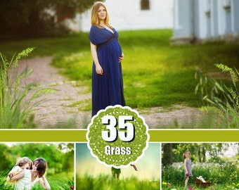 35 Grass Photo Overlays, Photography Overlays, Photo Prop, green summer magic fairy, Shooting through the grass, png file