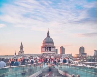 St Paul's Cathedral Millennium Bridge London Landmark colour sunset photo - FREE SHIPPING - Limited Edition - Cityscape - Fine Art Print