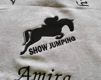 personalised showjumping hoodie embroidered range of colours