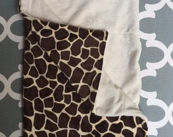 Cuddle Giraffe with Ecru smooth Minky Stroller blanket