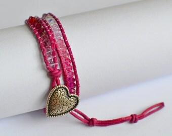 Chan Luu fuchsia wrap bracelet with swarovski crystals