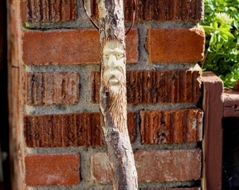 Hiking Staff, Walking Stick, Hand Carved, Oak, Old Man Face, with Leather Handle