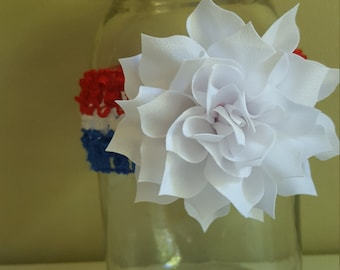Red white and blue infant flower headband
