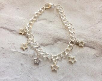 Stars Charm Bracelet, Silver Bracelet, Star Bracelet, Ladies Bracelet, Girls Charm Bracelet, Stars, Charms, Silver Stars.