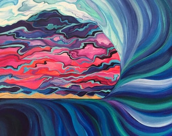 Shacked at Sunset - Original Acrylic Painting on Canvas