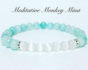 Cats eye and aqua amazonite Mala Bracelet - Yoga, Buddhist, Meditation, Prayer Beads, boho bracelet, strech cord bracelet, beaded bracelet
