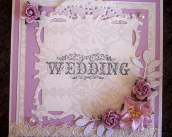 "Boxed 6"" square Wedding Card/wedding keepsake in lilac and cream"
