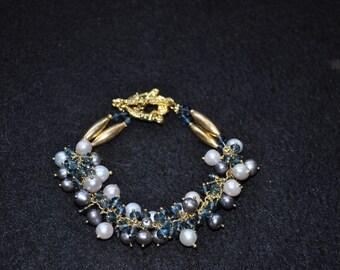 London Blue Topaz and Pearl Bracelet