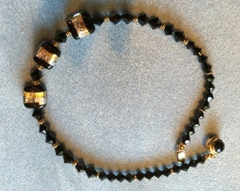 Black crystal and black and gold Murano glass necklace