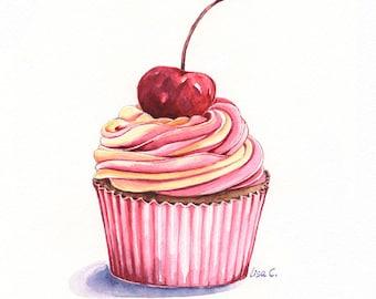 "Watercolor Print  ""Cupcake  6""  Cupcake Art, Cupcake Print, Cupcake  Wall Decor,Kitchen Art, Food Illustration Watercolor Art Print"