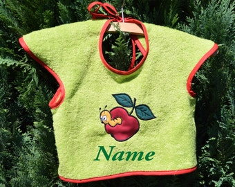 """Bib green with motif of """"Apple"""", baby, personalized"""