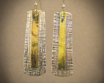 Reflection - Sterling Silver & Brass earrings
