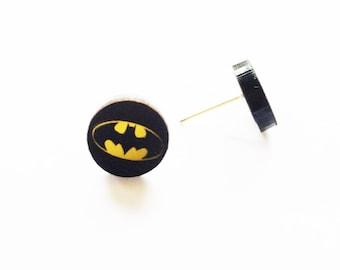 Batman Batgirl Stud Earrings - Hypoallergenic Justice League