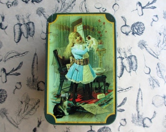 Vintage Victorian Tin - Young girl with kittens