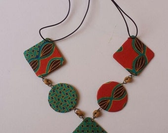 Teal and Orange Printed Necklace
