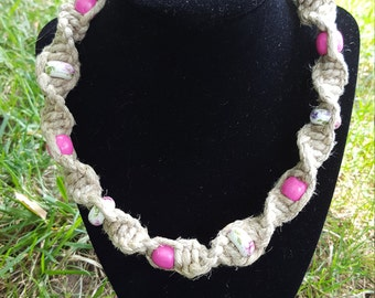 Phatty Hemp Necklace - Beaded Hemp Necklace - Hemp Necklace - Beaded Necklace - Hemp Jewelry - Pink Hemp Necklace - Thick Hemp Necklace