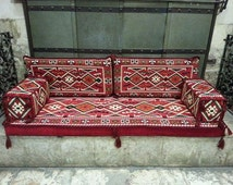 ARABIC Oriental Seating COVER Set . Phrygia .  Majlis -  Rug Fabric Indoor / outdoor - Hookah lounge - Home 6pcs