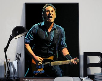 Bruce Springsteen, The Boss, Music, Guitar, Print, Wall decor, Wall Art, Digital, PrintItOutShop, Instant Download