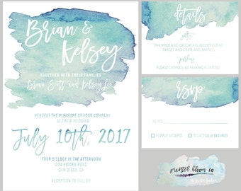 Blue Water Color Wedding Invitation