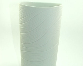 60s Rosenthal bisque unglazed white vase waves of vertical rills Martin Freyer Germany
