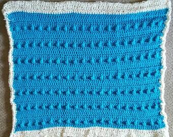 Textured blue blanket