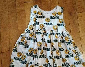 Baby Girl Packers Dress With Matching Headband & Onesie Bottom Attached (Made to Order)