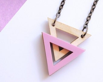 Double triangle wood necklace in fuchsia | Geometric Pink Necklace | Pastel Geometric | Two Triangle Necklace | Bubblegum Pink