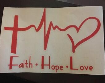 Faith, hope, love CHD decal 4x6