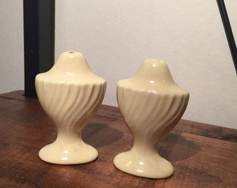 Vintage 1940s California Pottery pale yellow salt & pepper shakers