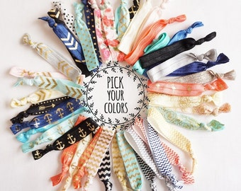 Bulk Hair Ties, Elastic Hair Ties, Pick Your Colors! Hair Ties, Hair Tie Bracelet, Ponytail Holder, No Crease Hair Ties, Gift for Girl