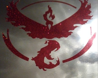 "3"" PokemonGo Team Valor Metal Flake Insignia Decal"