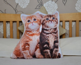 Adorable Kittens Shaped Cushion