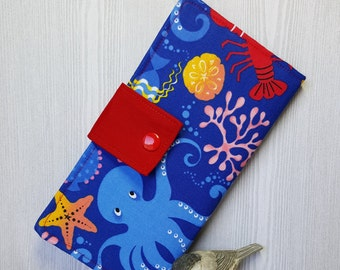 Ocean Creatures Women's wallet, Slim clutch wallet, fabric bifold wallet, handmade wallet, card wallet, checkbook wallet, gift idea